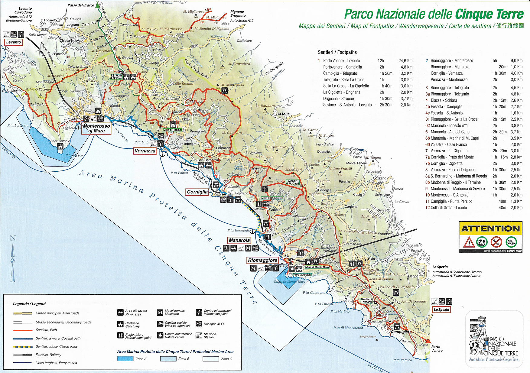 Cinque Terre Map Cinque Terre Map   National Park Open And Closed Hiking Trails Cinque Terre Map